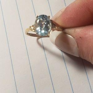 10kt blue topaz & diamond ring